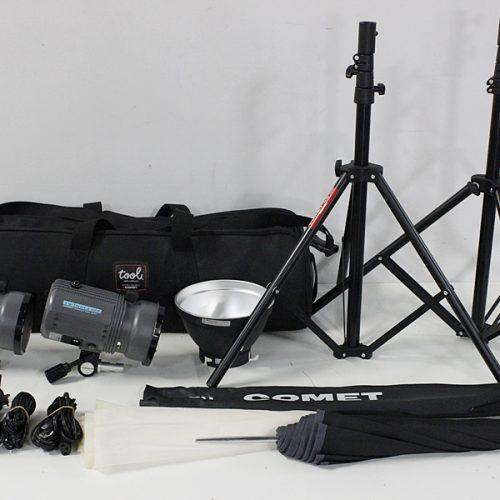カメラ買取実績紹介「COMET コメット TWINKLE 02Ⅱ 2灯 モノブロックストロボ」など撮影セット