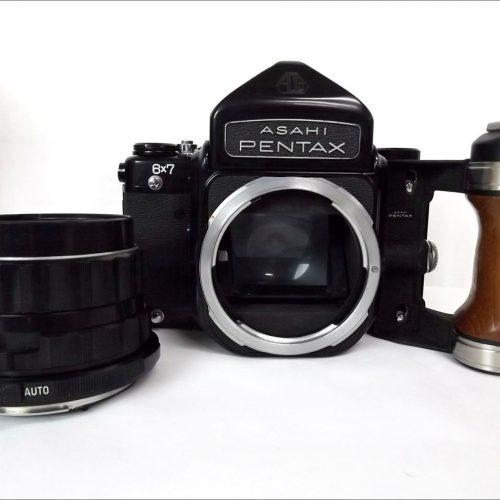 カメラ買取実績紹介「ペンタックス PENTAX67 ボディ 木製グリップ マグ二ファイヤー+レンズ 75/105/150mm+接写リング・固定ピントフード セット 現状品 ◆Y1234」